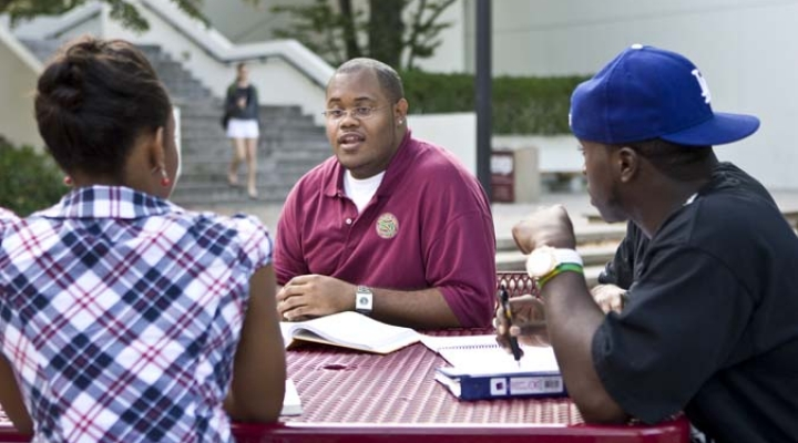 Students talking at Powell Fountain